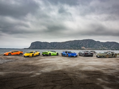 An expedition of Lamborghini super sports cars across the Norwegian fjords